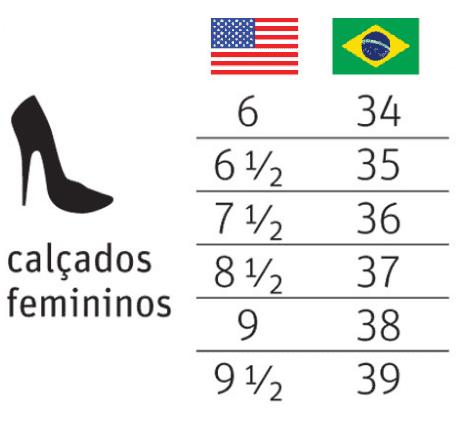 Numeração de calçados femininos nos EUA