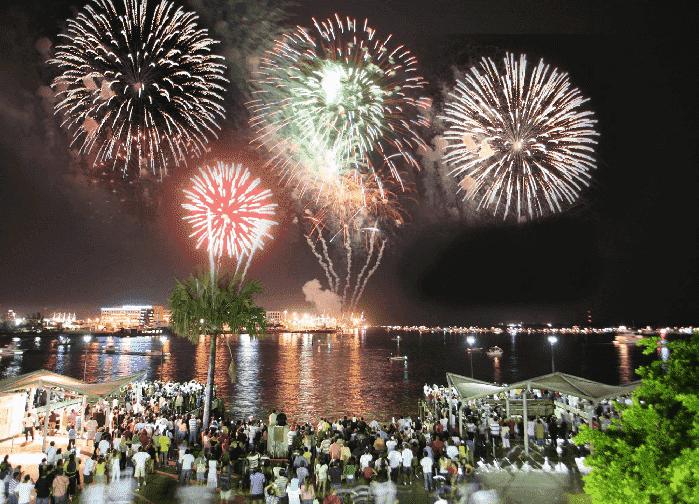 Fogos de artifício da Festa de ano-novo com o Pitbull em Miami