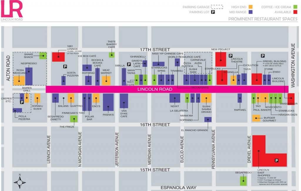 Mapa de lojas da Lincoln Road em Miami