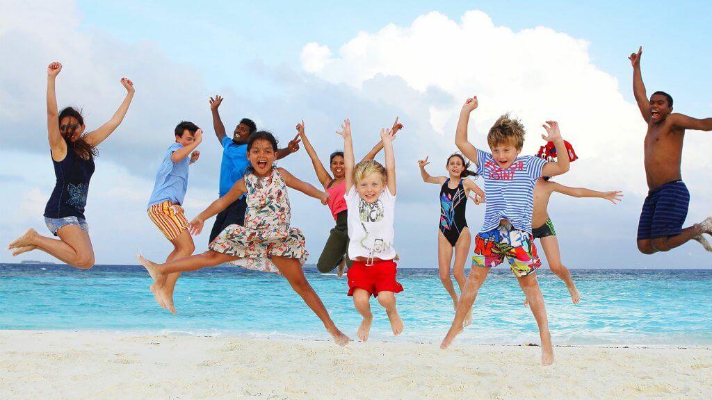 Praia em Miami com os filhos