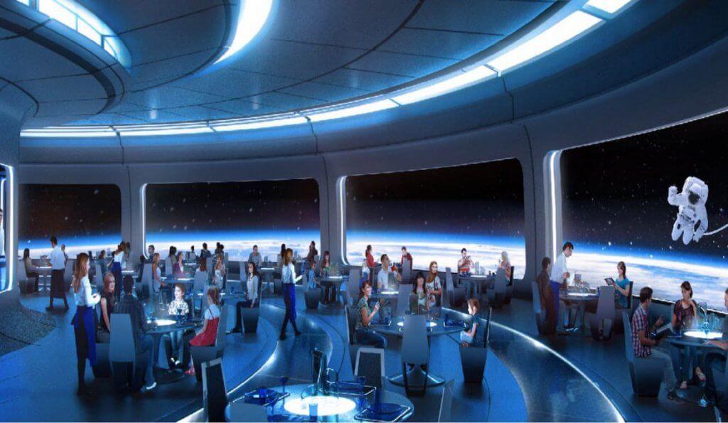 Space Restaurant no Epcot da Disney em Orlando: Decoração do espaço